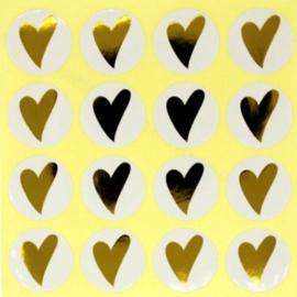 Sluitstickers Rond - Wit met Goudkleur Hartje  - 2.5cm - 16 stuks