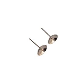 RVS Oorstekers met pin voor een kraal met half geboord gat - 2 stuks