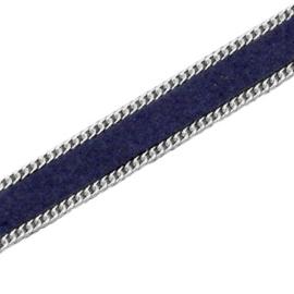 Imitatie Plat Suede Leer met Schakelketting Zilverkleur – Donkerblauw - 5cm