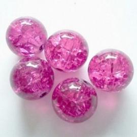 Glaskraal Crackle rond 10mm – Fuchsia Roze - 9 stuks