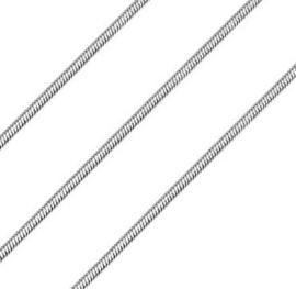 Ronde slangen ketting zilverkleur metaal 2mm - soepel en sterk - 50cm