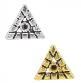 Schuifkraal metaal - driehoek - 12x10mm - met kastje voor similisteen - voor rond leer/koord