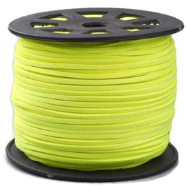 Faux Suede koord Plat - Neongeel ( neon yellow ) 3x1.4mm
