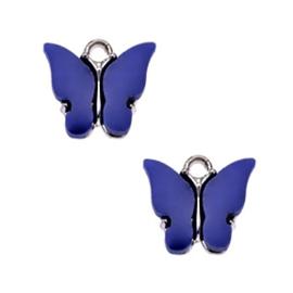 Bedel Vlinder Blauw / Zilver 15x13mm