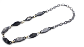 Zwart Grijze Halsketting met grote schakels - 100cm