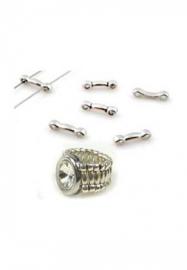 Metalen verdelers met 2 gaatjes o.a. voor het maken van een ring
