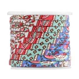 Gebloemd plat koord - 5x2mm - Paisley Motief - Blauw / Geel / Multicolor - 20cm