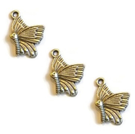 Hanger Bedel – Vlinder – Antiek Zilver – Metaal 20x14mm