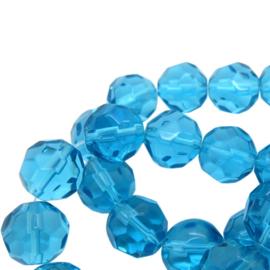 Facet Geslepen Glaskralen - Rond - Aquablauw - Streng
