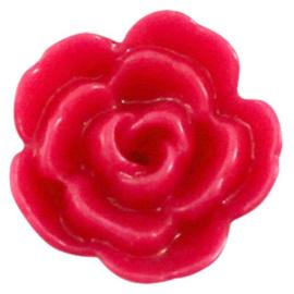 Roosje Kraal Acryl 10mm - Glanzend Helder Roze - 4 stuks - met rijggaatje