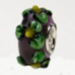 Zwart Groen Murano Glasbedel - met 925 Zilver Kern