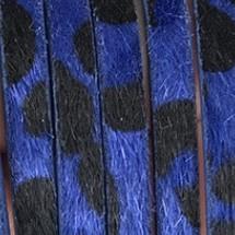 Plat Imitatieleer Vachtkoord 5x2mm - Kobaltblauw-Zwart - 20cm
