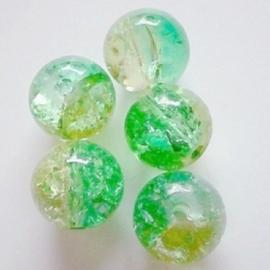 Glaskraal Crackle rond 10mm – Duo Groen Geel - 10 stuks