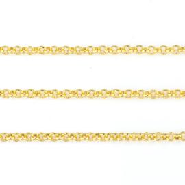 Jasseron ketting - goudkleur metaal - 2mm of 3mm schakel  - 1 meter