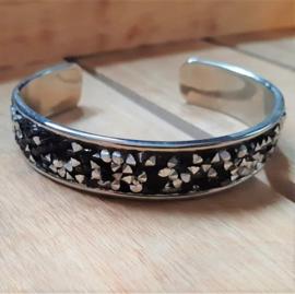 Armband Cuff Diamond Glitter Zwart/Zilver Strass