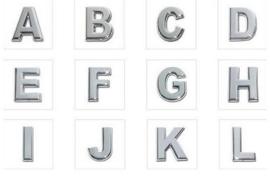 Schuifkralen Metaal Letters Alfabet A t/m L voor 10mm leer - Gat 10x2.5mm