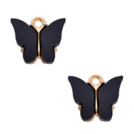 Bedel Vlinder Zwart / Goud 15x13mm