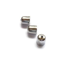Eindkapje metaal  met gaatje voor leer of koord  8x7mm  2 stuks