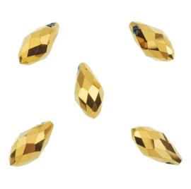 Facet Glaskralen Goudkleur Kristal Druppel 13x6mm - 5 stuks