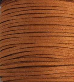 Faux Suede koord Plat - Cognac bruin (yellow coffee) 3x1.4mm