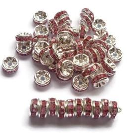 Strass Rondellen kristal - Silver Plated - 8mm – Roze - 10 stuks