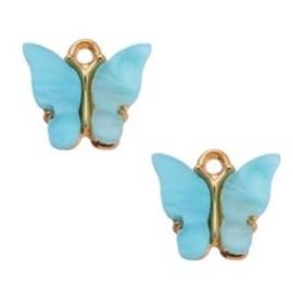 Bedel Vlinder Lichtblauw  Goud 15x13mm