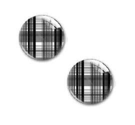 Foto Glas Cabochon Rond - 20mm - Schotse Ruit - Zwart/Wit