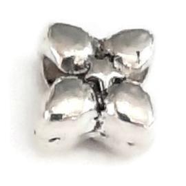 Metalen kraal met groot gat - klaver - 10x7mm - gat 4.8mm