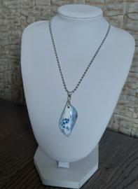 Blauw & Witte Draak Agaat Hanger aan RVS Halsketting