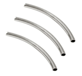 Tube kraal - gebogen buisje - silverplated metaal  - 10 stuks