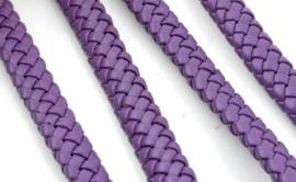 Imitatieleer band gevlochten 9,5mm x4mm - paars - per 20cm