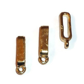 Leerschuif / schuifkraal met oog - voor plat leer of koord - Goud- of Zilverkleur