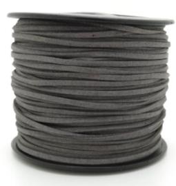 Faux Suede koord Plat - Donkergrijs (dark gray)  3x1.4mm – 1 meter