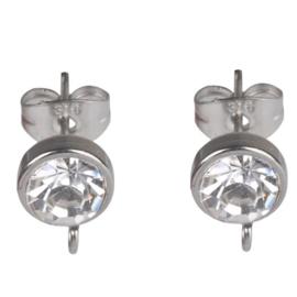 RVS oorstekers met oogje en blanke strass  - 15x10mm