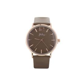 Horloge Rosé Goudkleur met Bruin Leren Bandje - Ø 40mm
