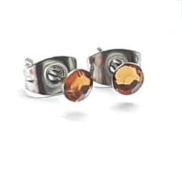 Stainless steel oorsteker met bruin plaksteentje - 4mm - per paar