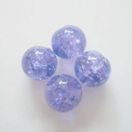 Glaskraal Crackle rond 8mm – Paars - 10 stuks