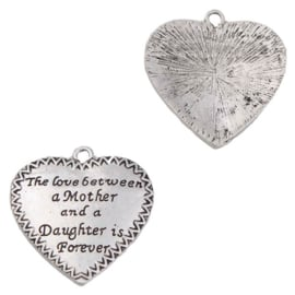 Bedel Hanger  Hartje met Tekst: The love between a Mother and a Daughter is Forever