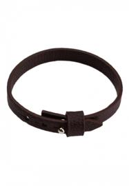 Imitatie Leren Armband met Studslotje - voor Schuifkralen - 9.5 x 2.4mm