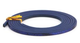 Plat Imitatie leerkoord - 3x2mm - Kobaltblauw met reptielprint  - 20cm