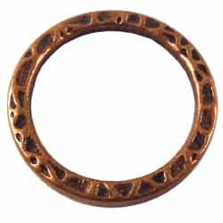 Metalen Tussenzetsel Ring, Rond 2 zijdig bewerkt - 22mm Antiek Koper
