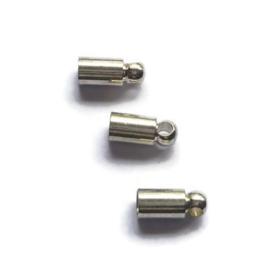 Eindkapjes voor 3mm leer koord - 6 stuks - zilverkleur
