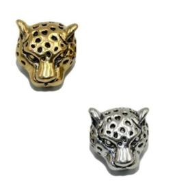 Luipaard bedel,  metaal,  met groot gat, zilver of goudkleur - gat 4mm
