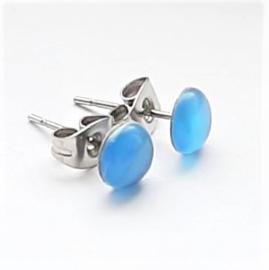 Stainless steel oorsteker met blauwe plaksteen kattenoog 6mm - per paar