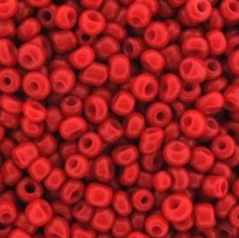 Glas rocaille 4mm (6.0) Rood Opaque- Per zakje ca 5 gram