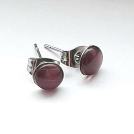 Stainless steel oorsteker met paarse plaksteen kattenoog 6mm - per paar