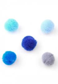 Pompon Balletjes - Bedels - Stof - Blauw Grijs Mix -10mm - 20 stuks