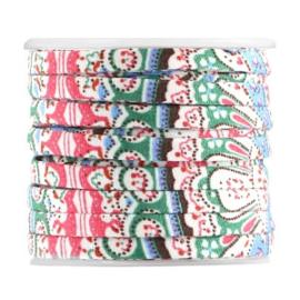 Gebloemd plat koord - 5x2mm - Paisley Motief - Lichtblauw / Roze / Multicolor - 20cm