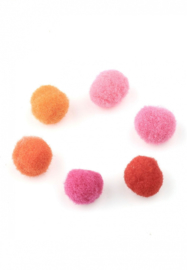 Pompon Balletjes - Bedels – Stof - Roze Rood Oranje Mix -10mm - 20 stuks
