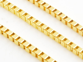 Metalen vierkante schakelketting (boxchain) goudkleur - 50cm